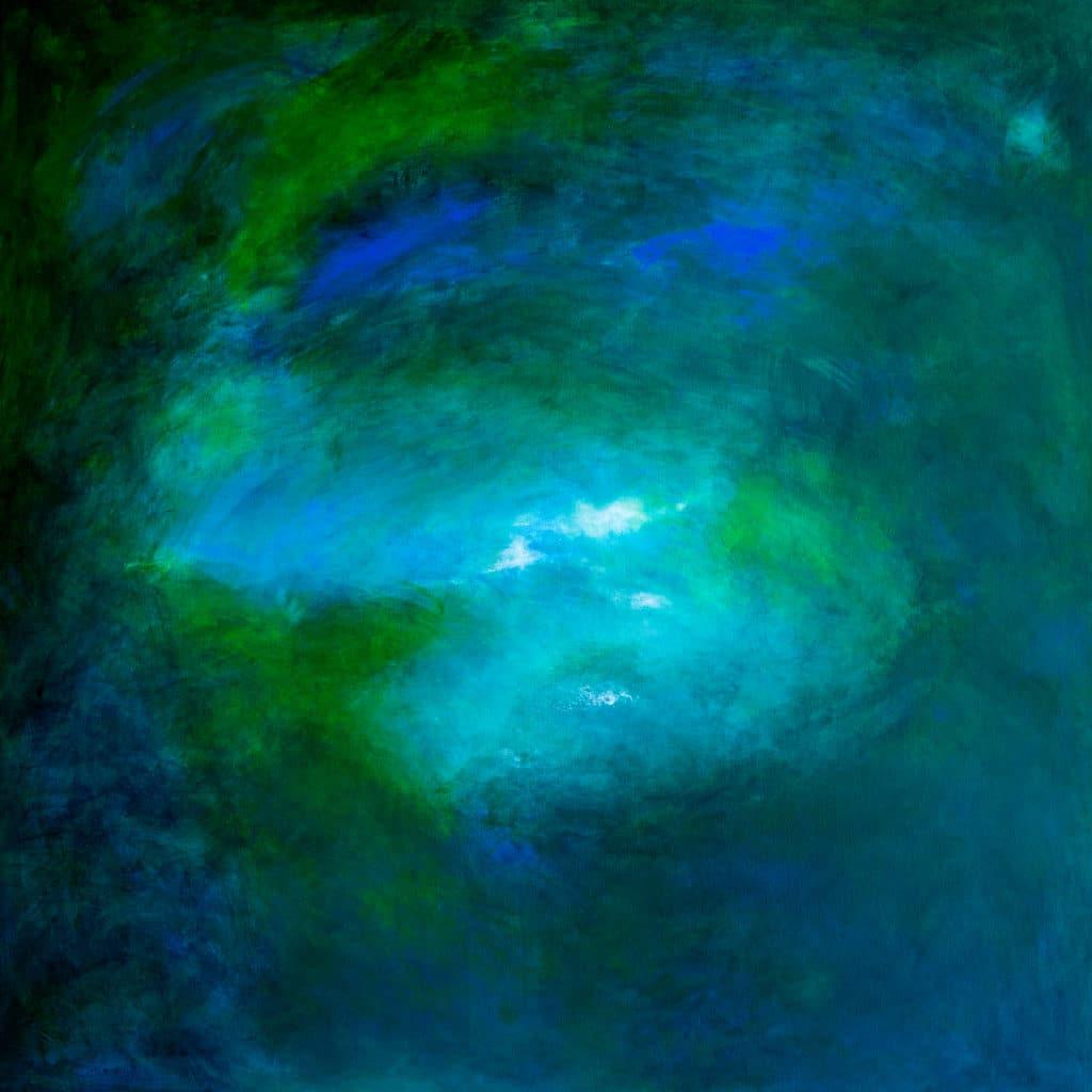 Blågrön tavla 122 x 122