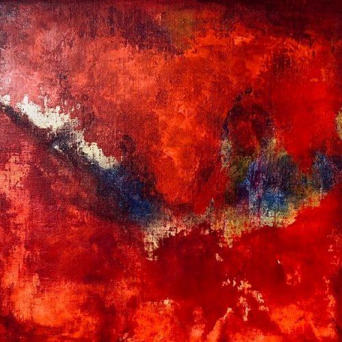 Röd tavla 31 x 31